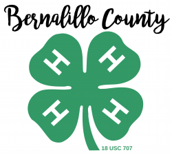 Image is script of words 'Bernalillo County' above green 4-H Cloverleaf logo, leading to page to enter information for 4-H MailChimp mailing list.