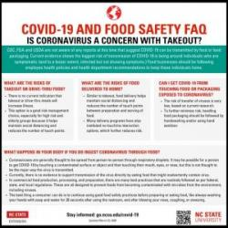 NC State Extension Flyer titled COVID-19 and Food Safety Frequently Asked Questions Is Coronavirus a concern with Takeout?